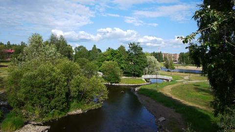 Public garden in summer day, Petrozavodsk Footage