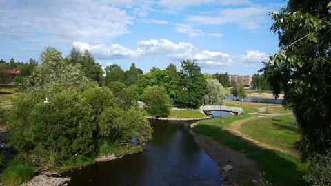 Public garden in summer day, Petrozavodsk Stock Video Footage