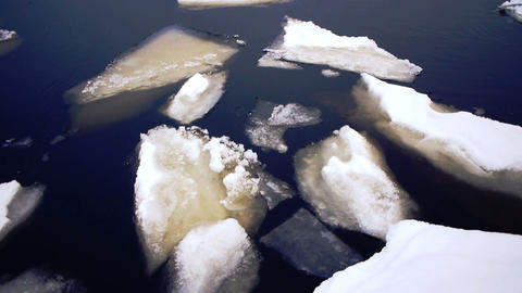 Floating of Onego lake ice, Petrozavodsk Stock Video Footage