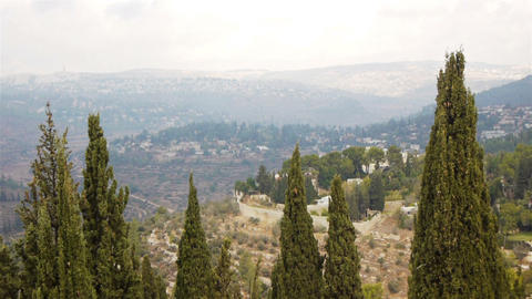 View from above on Jerusalem and green hills, Isra Stock Video Footage