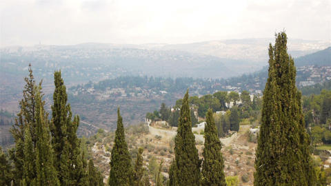 View from above on Jerusalem and green hills, Isra Footage