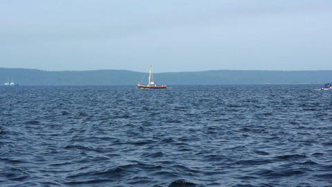 Sailboat in regatta on blue sea Stock Video Footage