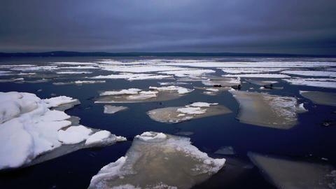 Floating of Onego lake ice, Petrozavodsk Footage