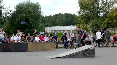 PETROZAVODSK, RUSSIA - AUGUST 27: Anonimous bmx ri Stock Video Footage