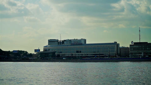 View of Hotel Moscow on the Neva river embankment, Footage