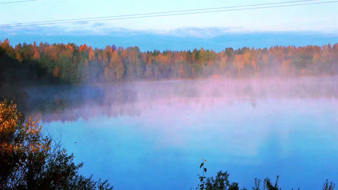 Morning fog on the lake, time lapse movie Footage