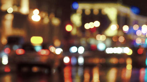 Unfocused traffic and city lights Footage