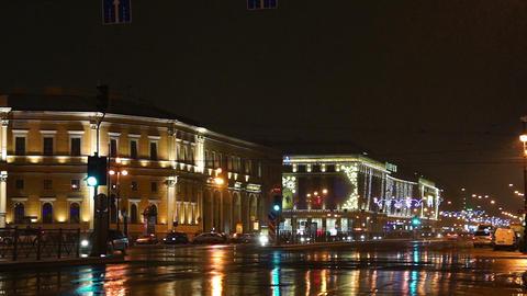 Night Traffic Near Shopping Center Galeria (Galler stock footage