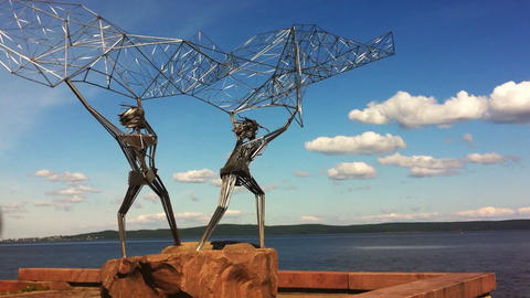 Fishermen monument on a quay in Petrozavodsk, Russ Footage