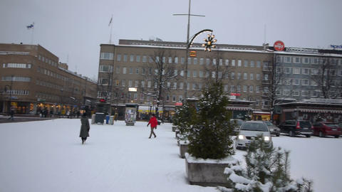 Central Square Of Joensuu, Finland stock footage