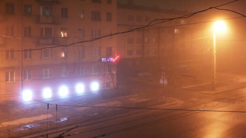 City traffic in a foggy night, time lapse Footage