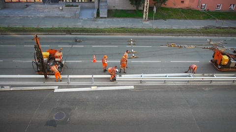 Road construction workers aerial view Footage
