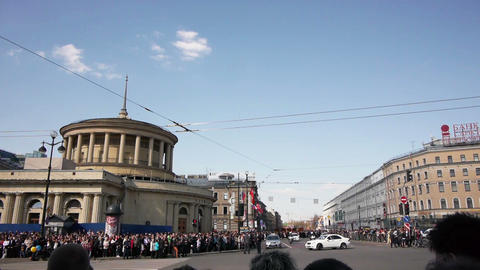 Victory day celebration on Vosstaniya Square in Sa Footage