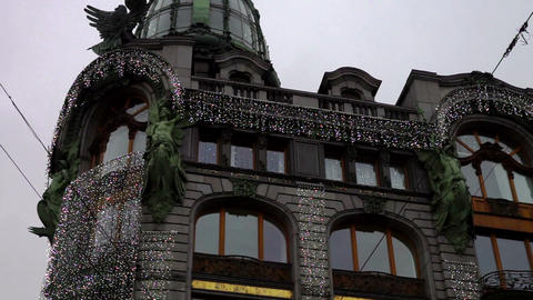 Facade of Singer House with Christmas decoration,  Footage