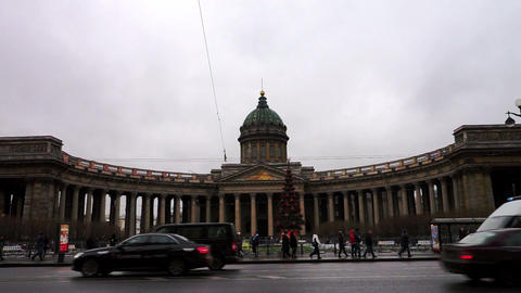 Cloudy view at Kazan Cathedral on Nevsky avenue, S Footage