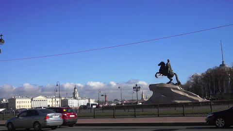 Monument To Peter The Great And Neva River Quay At stock footage