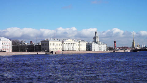Saint Petersburg waterscape with Neva river embank Footage
