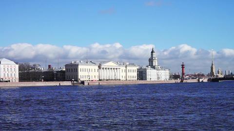 Saint Petersburg waterscape with Neva river embank Footage