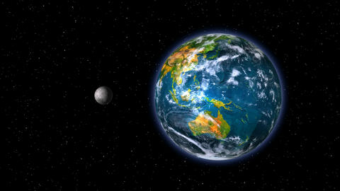 Green Planet Earth With Moon stock footage