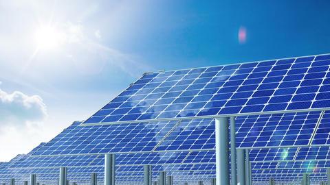 Solar Panels and Sun. 4K Animation