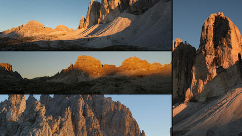 dolomites alps sunset montage three peaks 11595 Footage