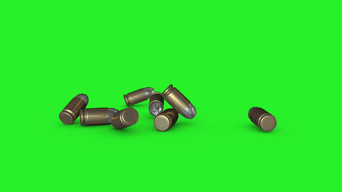 Falling 3D Bullets On Green Screen stock footage