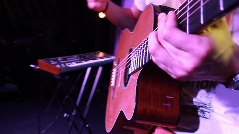 on stage - classical guitar close up while playing (view from the upper corner) Footage