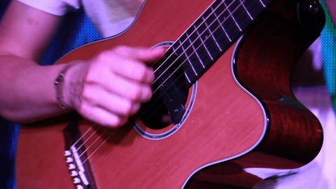 rock band on stage - the classical guitar close up while playing Footage