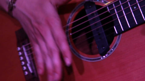rock concert: acoustic guitar close up while playing Footage