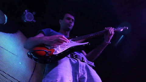 Rock Concert: Electric Guitarist (bottom View) stock footage