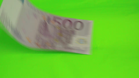 A 500 Euro bill drops on the table Footage