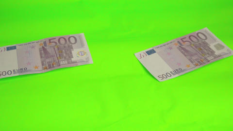 Four 500 Euro bill scattered on the table Footage