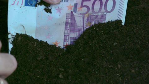 A 500 Euro bill from the soil Live Action