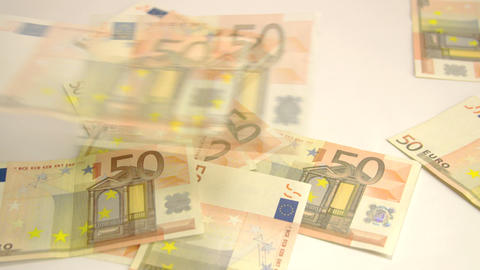 Many 50 Euros thrown on the floor Live Action