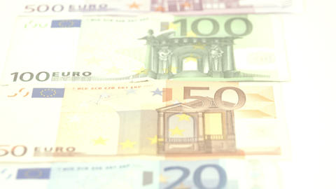 Five Euro bills laid down on the table Live Action