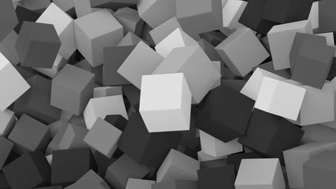 Falling Cubes. Black And White Animation stock footage