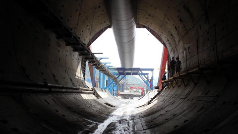 Tunnel construction 010 Stock Video Footage