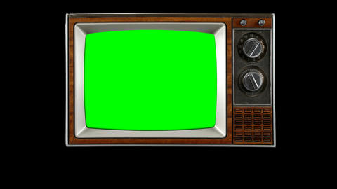 Old Tv Opening Television Vintage Intro Green Screen Snow Show stock footage