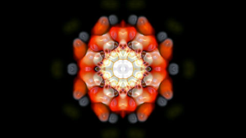 orange rotation flower pattern,kaleidoscope,oriental lotus texture.Buddhism Mandala flower Animation