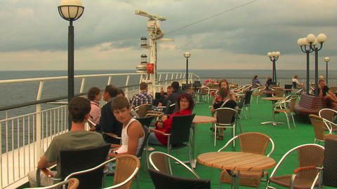 Passengers on the deck of the liner 1 Stock Video Footage