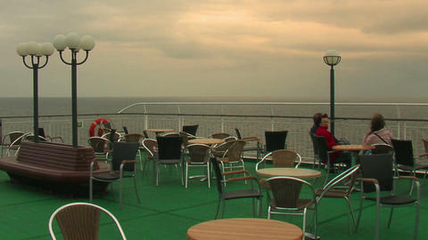 Passengers on the deck of the liner 3 Stock Video Footage