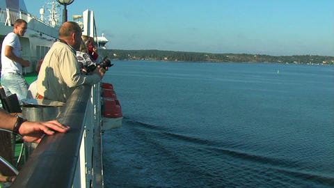 Passengers on the deck of the liner 10 Stock Video Footage