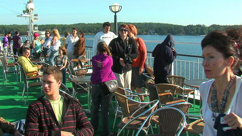 Passengers on the deck of the liner 12 Stock Video Footage