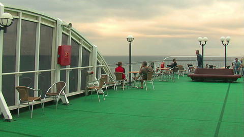 Passengers on the deck of the liner 4 Stock Video Footage
