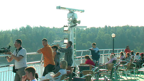 Passengers on the deck of the liner 9 Stock Video Footage