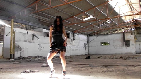 sexy beautiful girl dancing woman black dress warehouse... Stock Video Footage