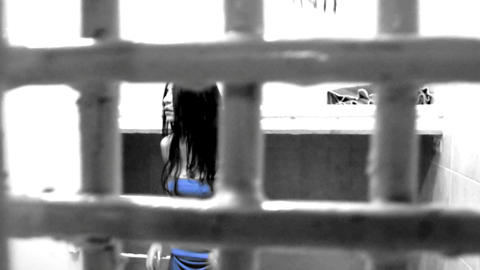 sexy beautiful woman crime heels Prisons detention jail... Stock Video Footage