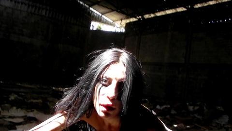 sexy beautiful vampire girl walking woman black dress... Stock Video Footage
