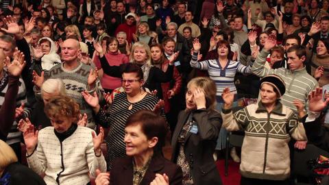 Praises crowd 2 Stock Video Footage