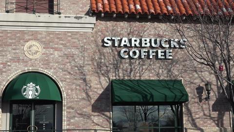 Starbucks Coffee Shop stock footage